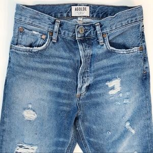 AGOLDE Sustainable Hi Rise Slim Distressed Jeans
